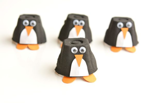 Penguin egg carton craft idea